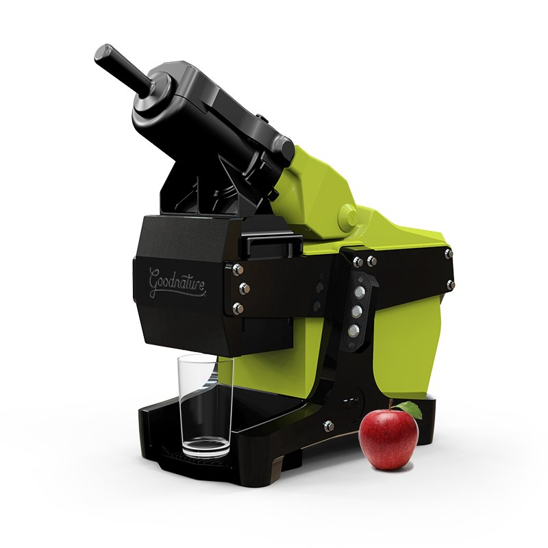 Goodnature M-1 commercial cold-press juicer in Green with Apple