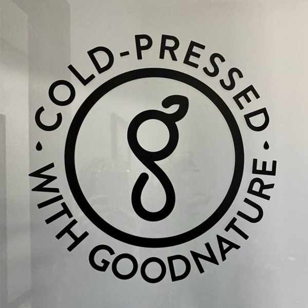 """""""Cold-Pressed with Goodnature"""" Decal  - Part #21337"""