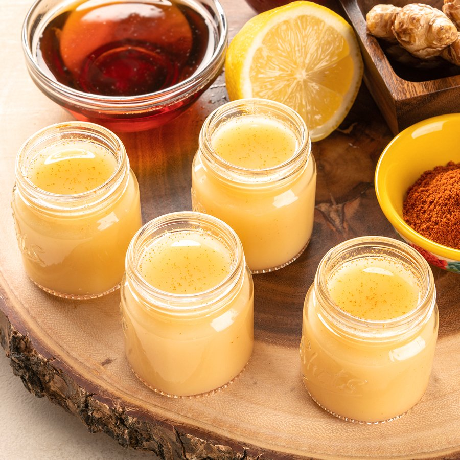 toxin ninja shots with lemon cayenne ginger apple and maple syrup